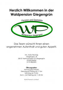 Speisekarte Waldpension Giegengruen Seite 1